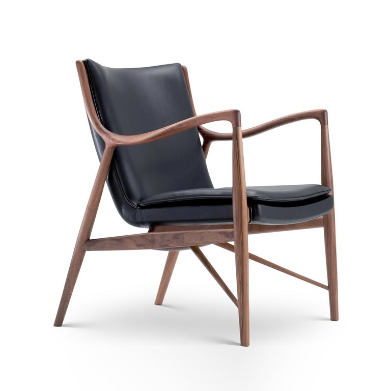 Modern Finn Juhl 45 Chair Walnut, Black Leather For Sale