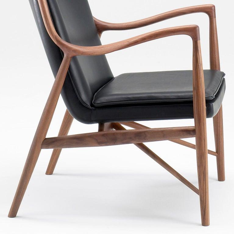 Danish Finn Juhl 45 Chair Walnut, Black Leather For Sale