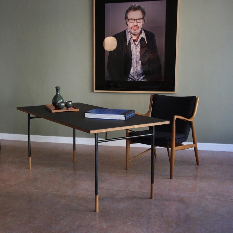 Finn Juhl 45 Chair Walnut, Black Leather For Sale 1