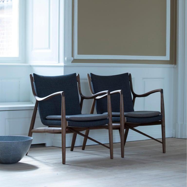 Finn Juhl 45 Chair Walnut, Black Leather For Sale 3