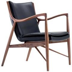Finn Juhl 45 Chair, Wood and Black Leather