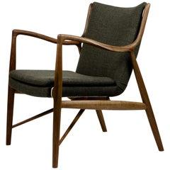 Finn Juhl 45 Chair, Wood and Fabric