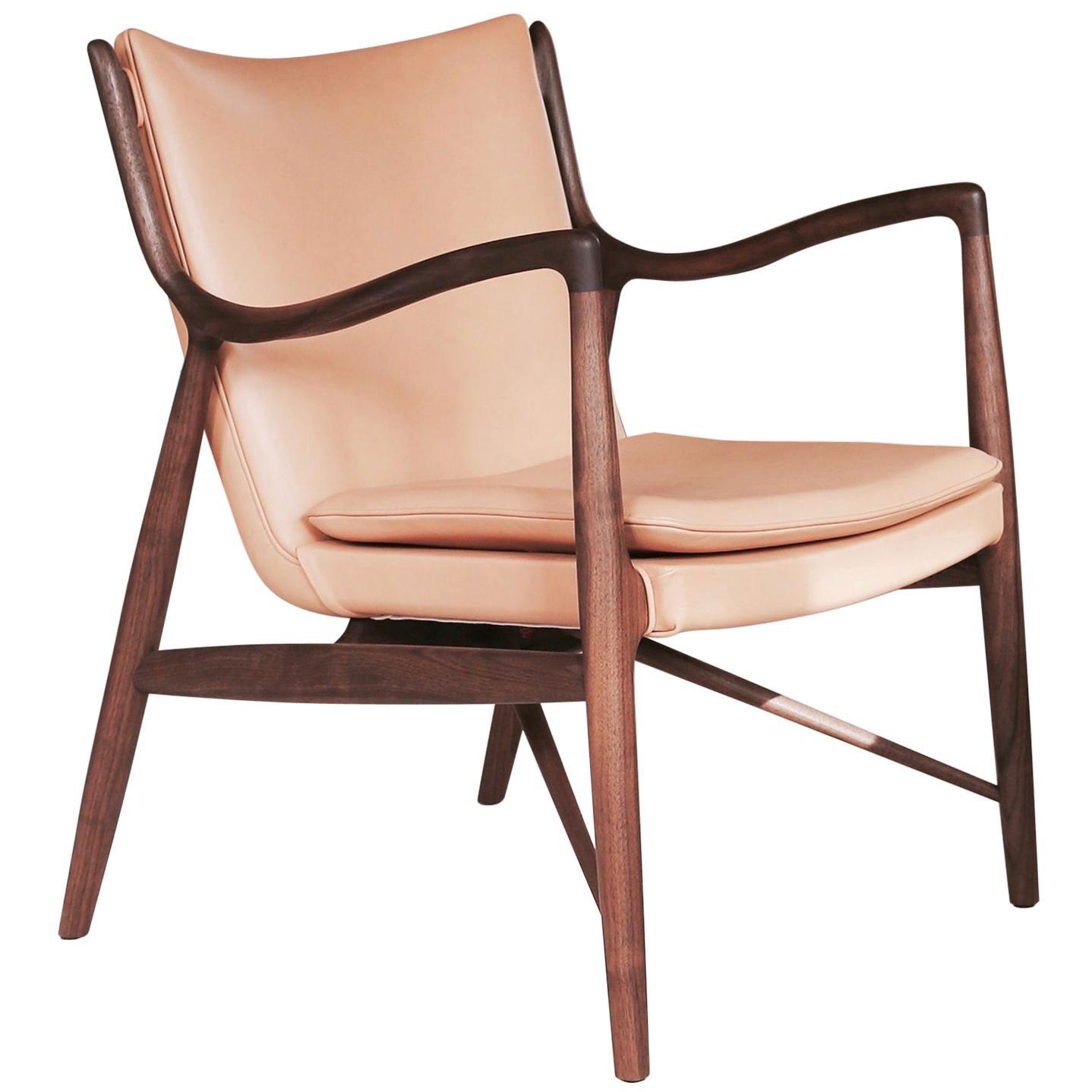 Finn Juhl 45 Chair Wood and Leather by House of Finn Juhl
