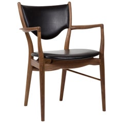 Finn Juhl 46 Chair Armrests, Walnut, Elegance Black
