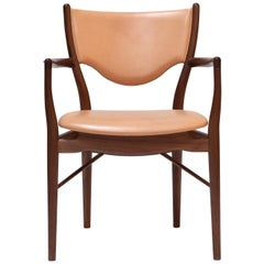 Finn Juhl 46 Chair Armrests, Wood and Leather