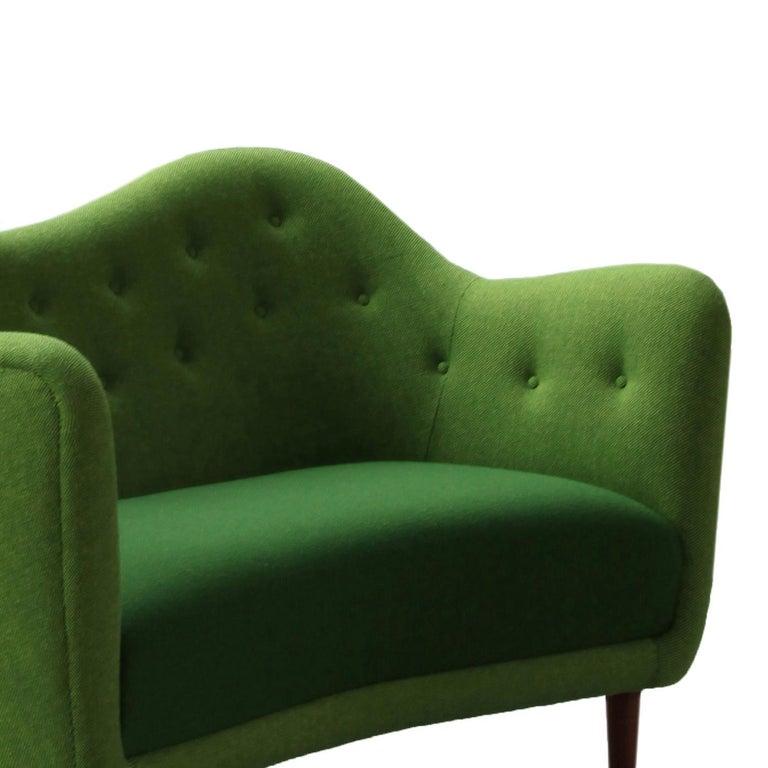 Danish Finn Juhl 46 Sofa Couch Green Fabric Cutout For Sale