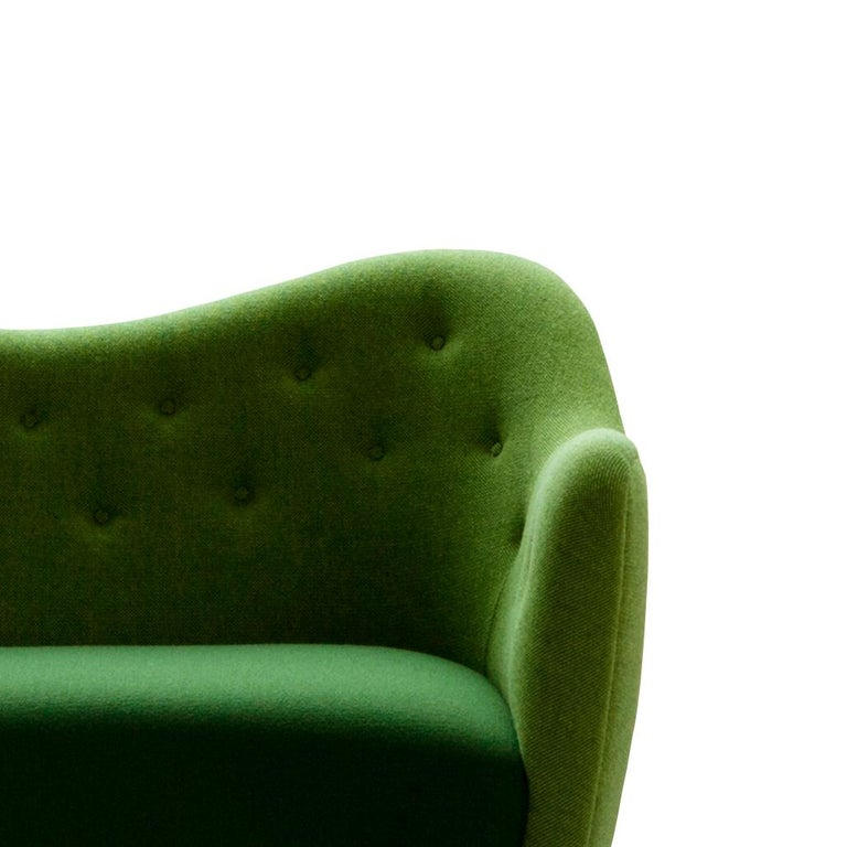 Contemporary Finn Juhl 46 Sofa Couch Green Fabric Cutout For Sale