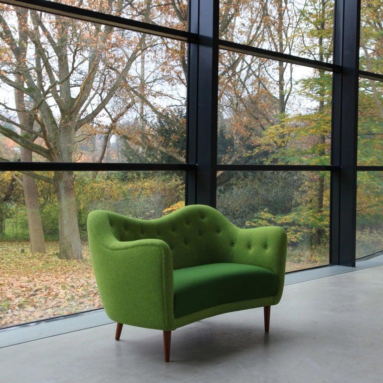 Finn Juhl 46 Sofa Couch Green Fabric Cutout For Sale 2