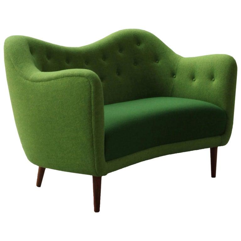 Finn Juhl 46 Sofa Couch Green Fabric Cutout For Sale