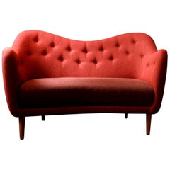 Finn Juhl 46 Sofa Couch Walnut Red Siksak Fabric
