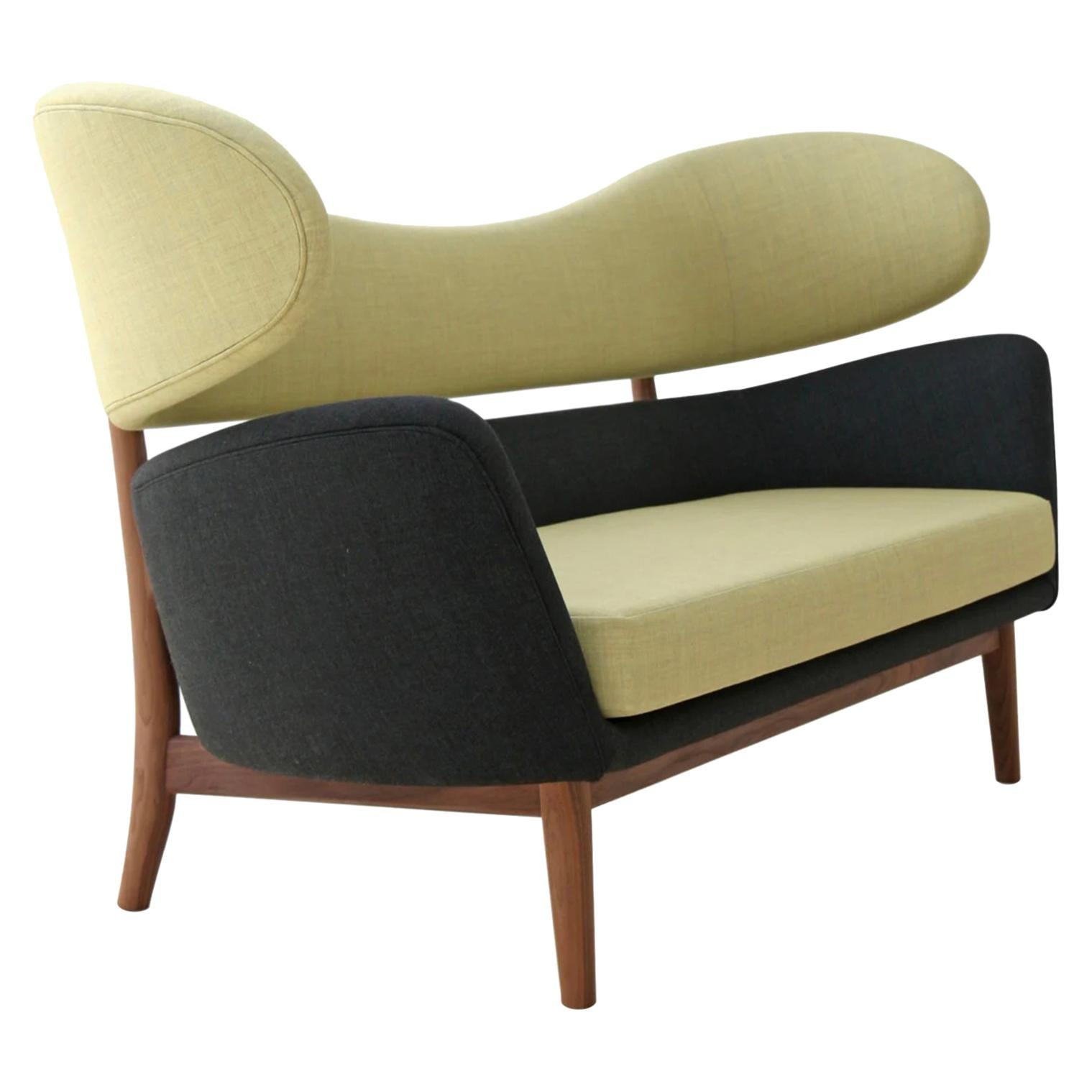 Finn Juhl Baker Sofa 1951, Citron Yellow Kvadret Maharam, Walnut Frame, Denmark
