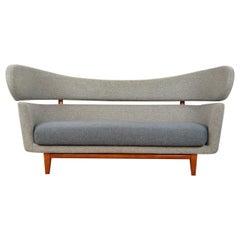 Finn Juhl Baker Style Sofa Retro Mid-Century Modern Danish Design, Grey and Blue