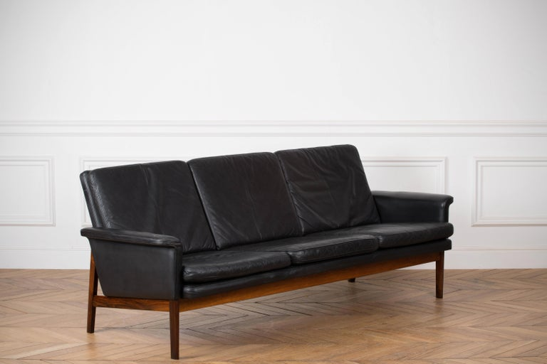 Finn Juhl Black Leather and Rosewood Sofa, Model No 218