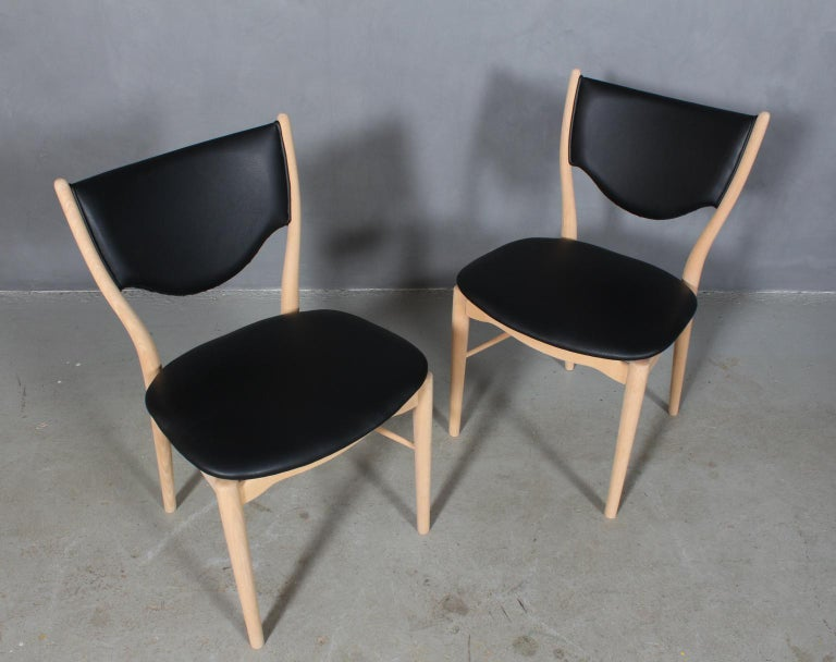 Finn Juhl BO 63 chair, designed in 1949 and manufactured by Bovirke, Denmark. Beech wood with seat and back new upholstered in black aniline leather. This model was also manufactured by Niels Vodder at a later date and was called the NV 64.