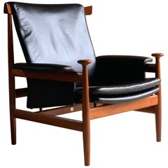 "Finn Juhl ""Bwana"" Teak and Leather Lounge Armchair Model 152 by France & Son"