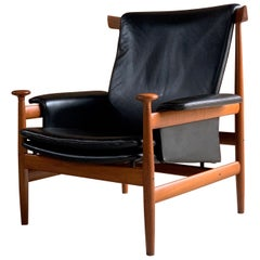 "Finn Juhl ""Bwana"" Teak & Leather Lounge Armchair  Model 152 by France & Son"