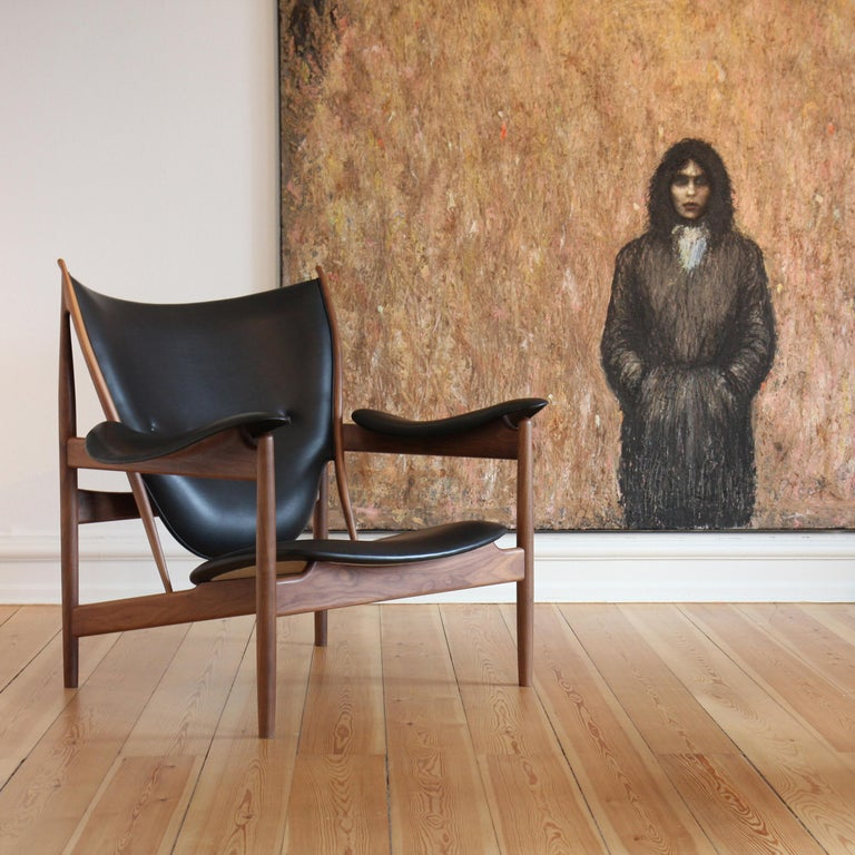 Contemporary Finn Juhl Chieftain Armchair Wood and Leather For Sale