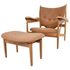 Finn Juhl Chieftain Chair and Ottoman by Baker