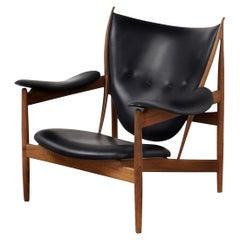 Finn Juhl Chieftain Chair, Black Leather, Walnut, 1949, Iconic Danish Design