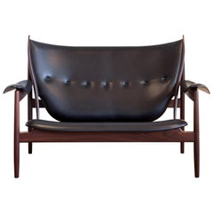 Finn Juhl Chieftain Sofa Couch Rosewood Elegance Black Leather