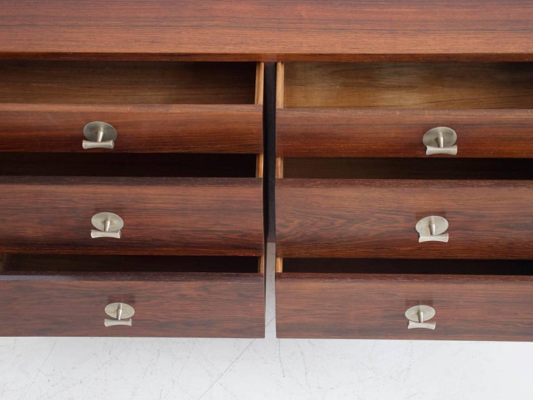 Scandinavian Modern 1960 Finn Juhl Commode Six Drawers Manufactured by Cado Rosewood and Steel Legs For Sale