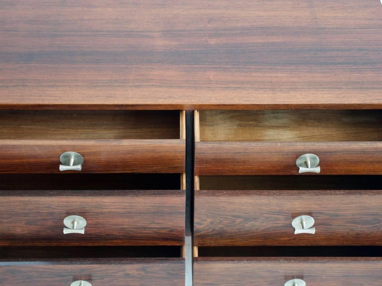 Danish 1960 Finn Juhl Commode Six Drawers Manufactured by Cado Rosewood and Steel Legs For Sale