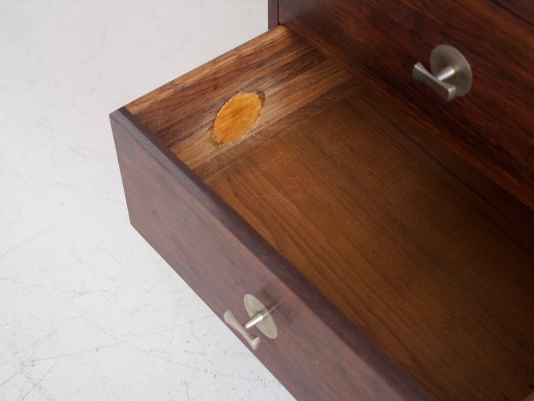 20th Century 1960 Finn Juhl Commode Six Drawers Manufactured by Cado Rosewood and Steel Legs For Sale
