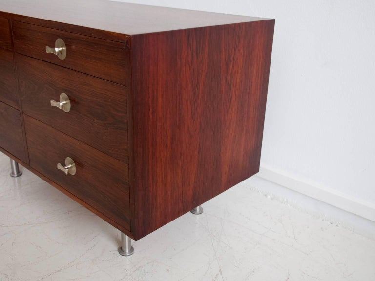 1960 Finn Juhl Commode Six Drawers Manufactured by Cado Rosewood and Steel Legs For Sale 1
