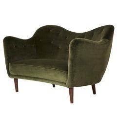 Finn Juhl Curved BO55 Sofa / Loveseat, Bovirke, Denmark, 40s/50s (free shipping)