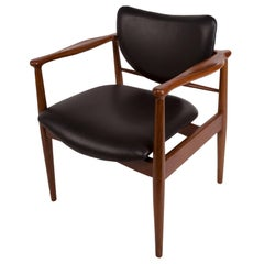Finn Juhl, Danish Mid-Century Modern Teak and Leather Desk or Arm Chair