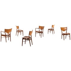 Finn Juhl Dining Chairs Model Bo-63 & Bo-72 by Bovirke in Denmark