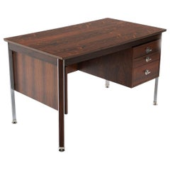 Finn Juhl Diplomat Desk, Brazilian Rosewood with Aluminum Accents, Excellent