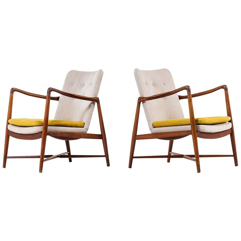 Finn Juhl Easy Chairs Model BO59 by Bovirke in Denmark