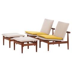 Finn Juhl Easy Chairs Model Japan Produced by France & Son in Denmark