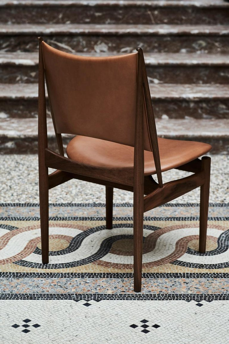 Danish Finn Juhl Egypetian Chair in Wood and Leather For Sale