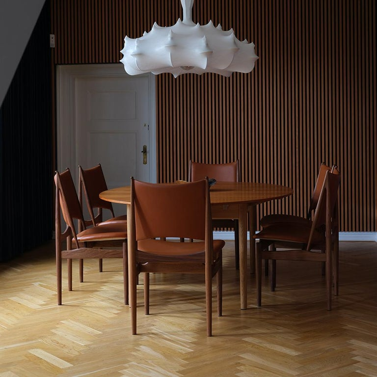 Contemporary Finn Juhl Egypetian Chair in Wood and Leather For Sale