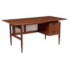 Finn Juhl Executive Walnut Desk with Original Caning for Baker Furniture