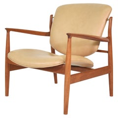 Finn Juhl FD 136 Tan Leather and Teak Lounge Chair
