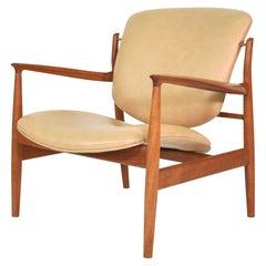 Finn Juhl FD 136 Tan Leather and Teak Lounge Chair