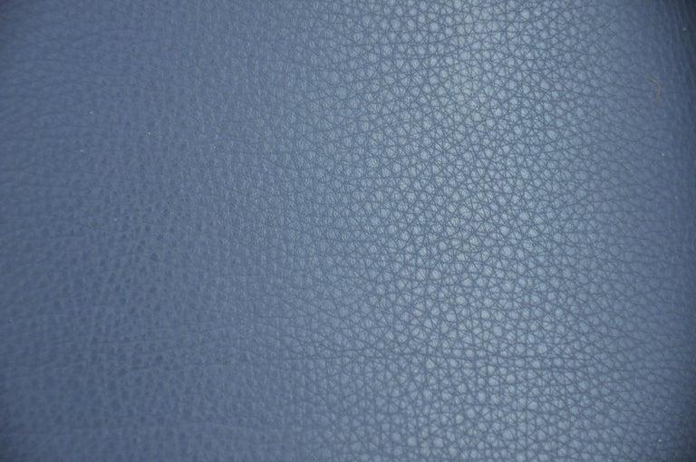 Finn Juhl FD 136 Teak and Navy Blue Leather Lounge Chair For Sale 11