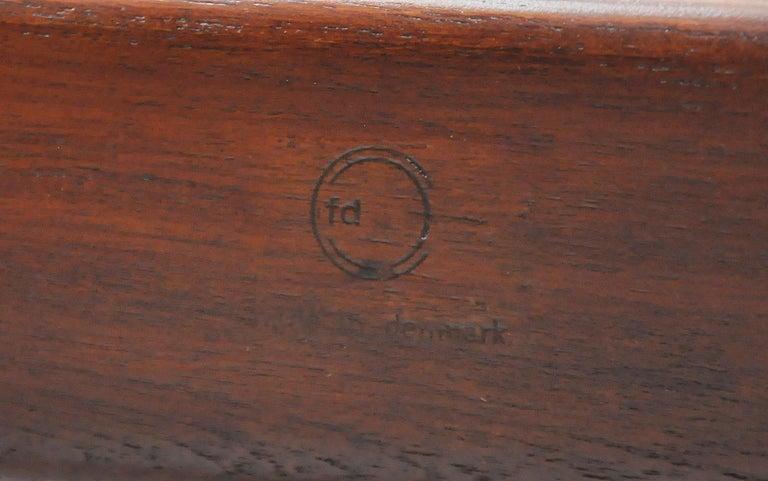 Finn Juhl FD 136 Teak and Navy Blue Leather Lounge Chair For Sale 12