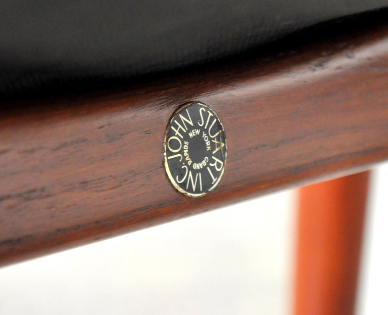 Finn Juhl FD 136 Teak and Navy Blue Leather Lounge Chair For Sale 13