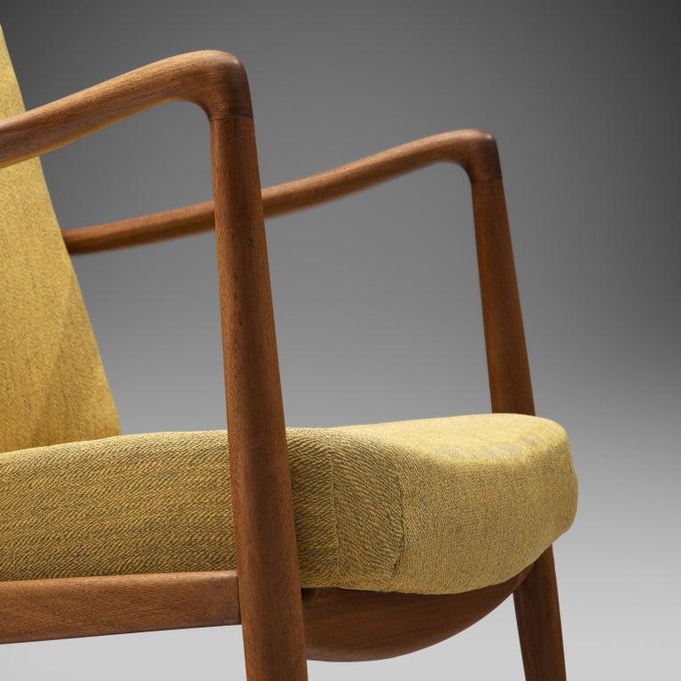 Scandinavian Modern Finn Juhl for Bovirke Armchair 4443 in Teak and Yellow Fabric For Sale
