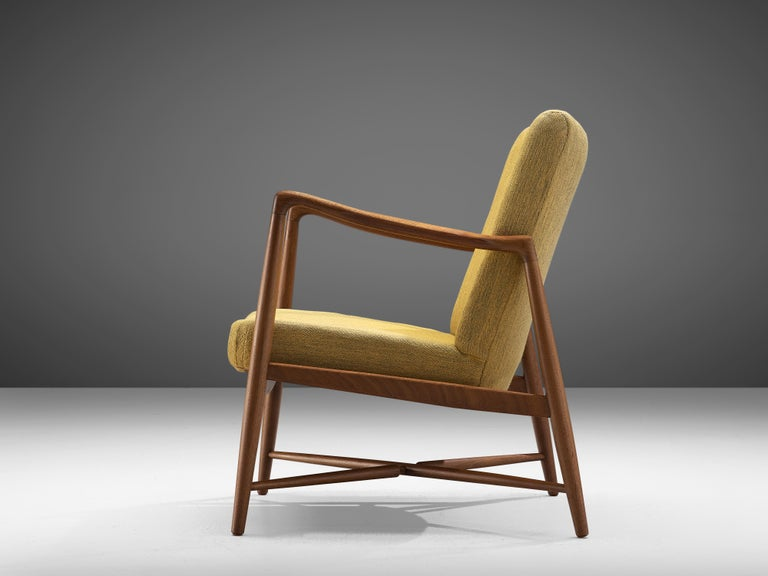 Danish Finn Juhl for Bovirke Armchair 4443 in Teak and Yellow Fabric For Sale