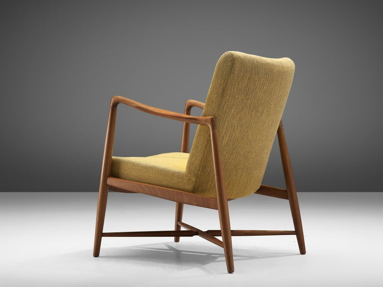 Mid-20th Century Finn Juhl for Bovirke Armchair 4443 in Teak and Yellow Fabric For Sale