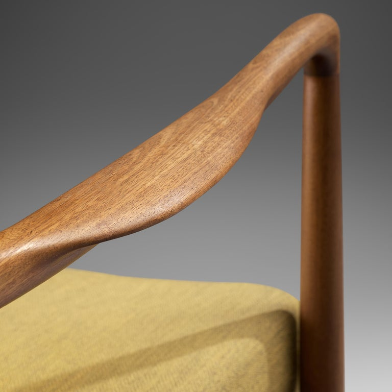 Finn Juhl for Bovirke Armchair 4443 in Teak and Yellow Fabric For Sale 1