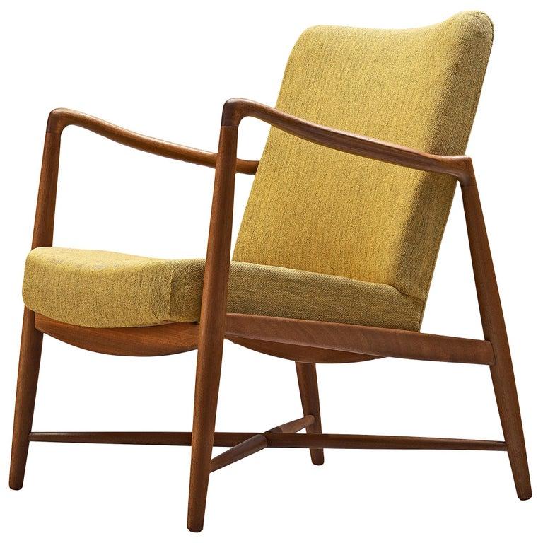 Finn Juhl for Bovirke Armchair 4443 in Teak and Yellow Fabric For Sale
