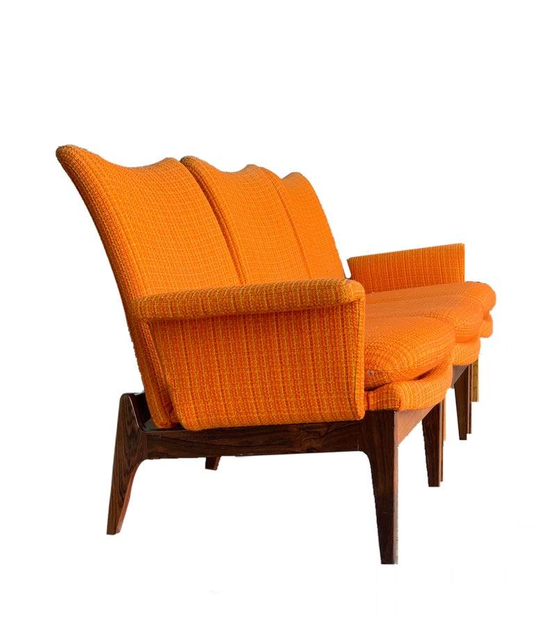 Finn Juhl for Cado Modular Modern sofa lounge armchair set 1950s rarity, signed  Finn Juhl for Cado Danish Mid-Century Modern modular three-piece sofa, with two removable arms for re-configuration, maker's label underside: