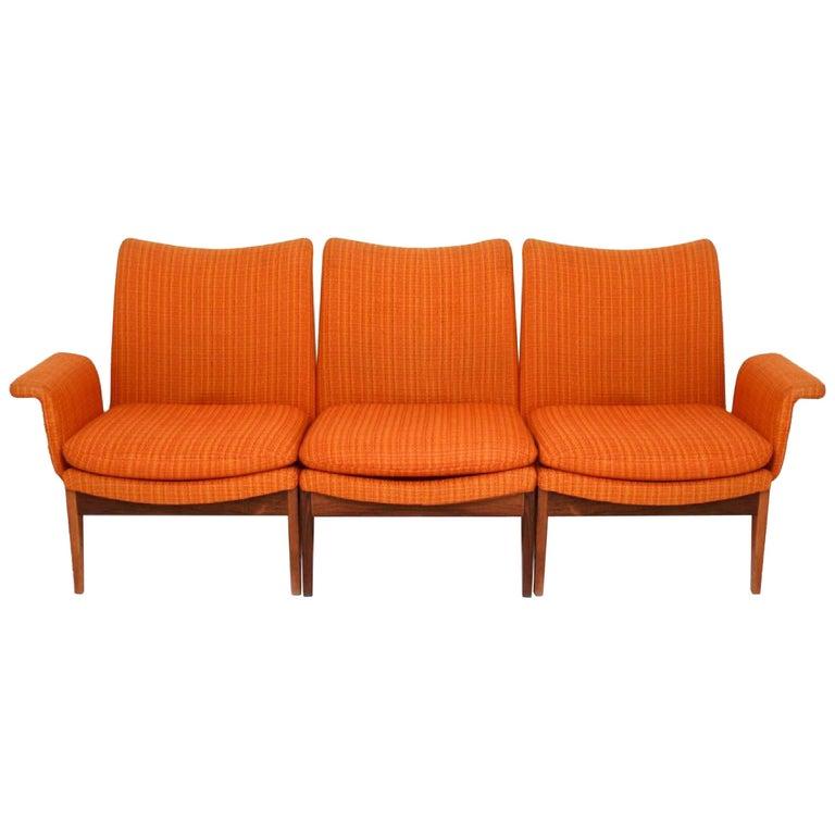 Finn Juhl for Cado Modular Sofa Lounge Armchairs 1950s Signed, Danish Modern For Sale