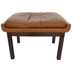 Finn Juhl for France & Son, Rosewood Stool with Brown Leather Cushion